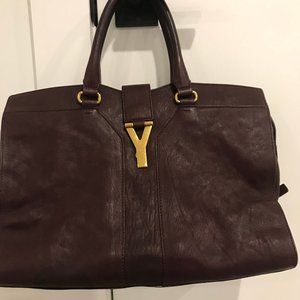 YSL Cabas Tote in Burgundy